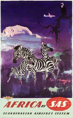 SAS Africa, Scandinavian Airlines System Zebra ☮ Vintage travel poster ☮