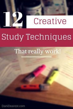 Top 12 creative study techniques that aren't normally shared. Good resource for studying for finals and midterms in college or high school!