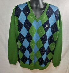 Lacoste Green Argyle V-Neck LS Sweater Pure Wool Sz 7 (XL) #Lacoste #VNeck