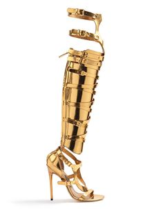 Metallic gold gladiator boot swag by TOM FORD