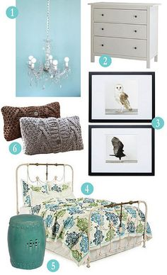 Bedroom inspiration board. blue, green, textures and owls. Whats not to love abut this?