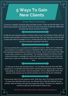 5 ways to gain new clients | Smart Start Consulting