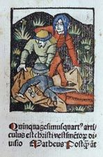 Color Image of Episode from Passion Antwerp, 1488  Gerard Leeu's illustrated edition of the Meditations contains seventy-five woodcut images, all colored by a contemporary hand.   Rare Book and Special Collections Division, Library of Congress (33)