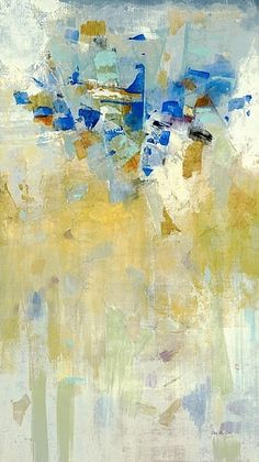 "Blue and Yellow ""Meeting Place I"" Abstract Wall Art by Jill Martin via @greatbigcanvas at GreatBIGCanvas.com."