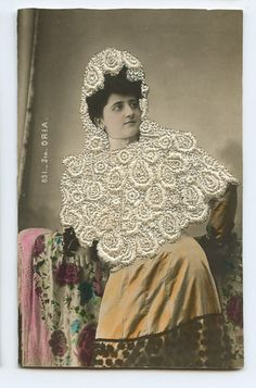 Sta Oria Embroidered Silk Photo Dancer Spain Glamour Lady 1910s Postcard