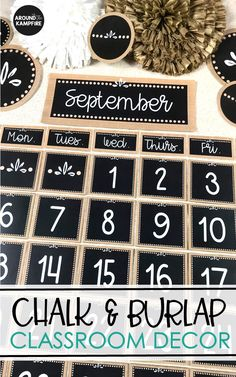 Create a calm and cohesive classroom for any grade level with editable burlap and chalkboard classroom décor. Bulletin boards, labels, binder covers, posters, and management displays help you organize Chalkboard Classroom, Classroom Calendar, Classroom Setup, Classroom Design, School Classroom, Future Classroom, Eyfs Classroom, Classroom Decor Themes, Classroom Setting