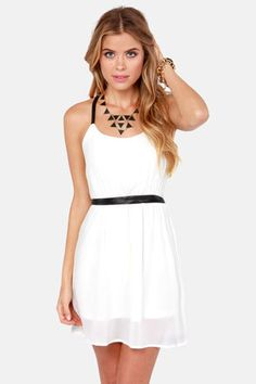 Sexy Ivory Dress - Black Dress - Belted Dress - $39.00