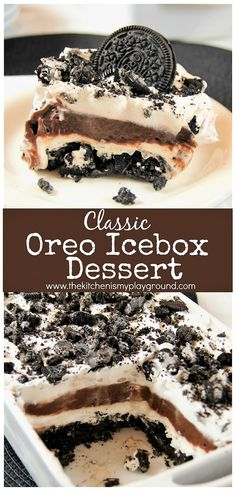 Who doesn't love an Oreo? They're even better in this classic Oreo Icebox Desser… Who doesn't love an Oreo? They're even better in this classic Oreo Icebox Dessert, with layers of Oreo, pudding, and whipped cream. Fluff Desserts, Whipped Cream Desserts, Icebox Desserts, Köstliche Desserts, Desserts With Whipping Cream, Desserts With Oreos, Oreo Pudding Dessert, Chocolate Pudding Desserts, No Bake Oreo Dessert