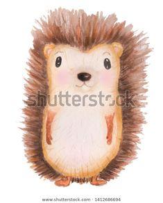 Стоковая иллюстрация «Watercolor Handdrawn Illustration Hedgehog On White How To Draw Hands, Teddy Bear, Watercolor, Bird, Animals, Image, Happy, Animales, Watercolor Painting