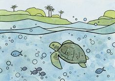 Hey, I found this really awesome Etsy listing at https://www.etsy.com/listing/108847546/sea-turtle-whimsical-illustration-ocean