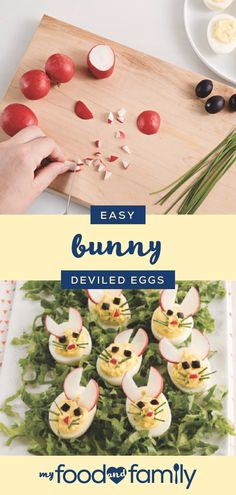 Easy Bunny Deviled Eggs – Deviled eggs are already an Easter favorite. Easy Bunny Deviled Eggs – Deviled eggs are already an Easter favorite. But, when you use some radish and chives to dec Easter Appetizers, Holiday Appetizers, Holiday Treats, Holiday Recipes, Easy Easter Recipes, Easter Dinner Recipes, Easter Brunch, Easter Deviled Eggs, Hoppy Easter