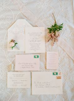 blush colored calligraphy invitations by http://erikajack.blogspot.com |  Photography by jenfariello.com |   Read more - http://www.stylemepretty.com/2013/08/05/pippin-hill-wedding-from-easton-events-jen-fariello-photography/