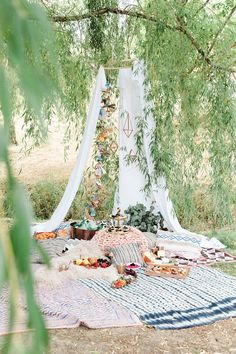Boho tent with Crate and Barrel copper collection