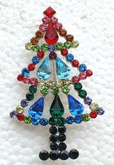 MULTI RHINESTONE CRYSTAL CHRISTMAS TREE PIN BROOCH A101 | eBay