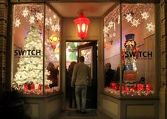 storefront christmas window decoration - Google Search
