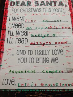 Good way to teach the difference between a need and a want and get ideas for gifts, all in one!