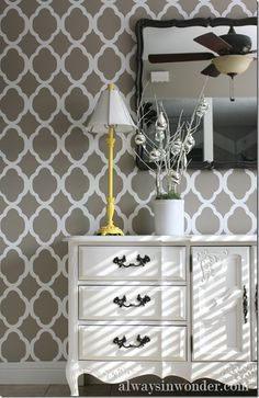 amazing looking walls painted with #CuttingEdgeStencils #RabatAllover #Stencilpattern. Read here to get this look:    http://blog.cuttingedgestencils.com/tutorial-stenciling-with-rabat-allover-stencil-pattern.html