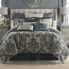 King Bedding Sets For Sale Luxury Comforter Sets, Bedroom Comforter Sets, Damask Bedding, Blue Comforter Sets, King Comforter Sets, Floral Comforter, Queen Bedding, California King, Kings Home
