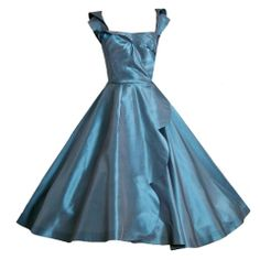 50's Cecil Chapman Steel Blue Party Dress