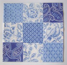 Blue White Paper Napkin For Decoupage Scrapbooking Mixed Media Floral pattern (ONE)