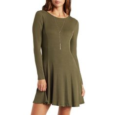 Charlotte Russe Ribbed Skater Dress ($25) ❤ liked on Polyvore featuring dresses, olive, flared skirt, flounce dress, circle skirt, charlotte russe dresses i long sleeve dress
