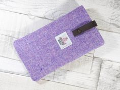 Harris Tweed Phone Sleeve in lilac twill with leather closure, suitable for Samsung Galaxy S6 or iPhone 6 sized phones by HandbagsandHome on Etsy