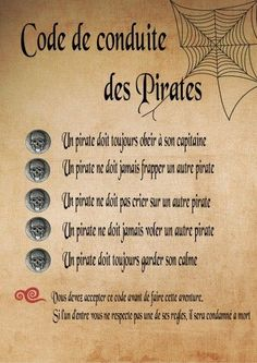 Semaine 2 - À l'arbordage! - Code de conduite des pirates
