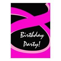 Pink and Black Ribbon Birthday Party Custom Invitations.  #birthday #party #celebrate #celebration #invite #invitation #envelope #custom #customize #personalize #stamps #stickers