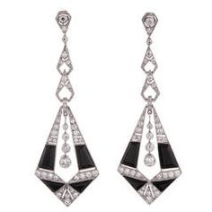 Onyx Diamond Platinum Drop Earrings