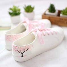 Todays Fashion Flats on The Demon's Chest.Brisk Hand-Draw Cherry Trees Flats Casual Lace-Up Shoes Dc97 Ideal gift for your girl,lover and friend.