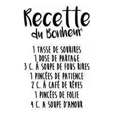 Recipe of Happiness Stickers - Positive Attitude, Positive Quotes, Typographie Logo, French Quotes, French Sayings, Positive Affirmations, Slogan, Life Lessons, Quote Of The Day