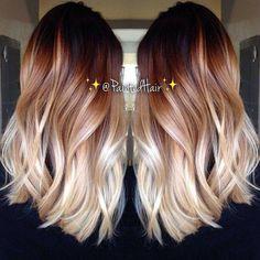 Hair Color And Cut, Ombre Hair Color, 2 Tone Hair Color, Hair Colours, Blonde Color, Colour Melt Hair, Burgandy Ombre Hair, White Ombre Hair, Color Melting Hair