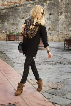 All black outfit plus tan suede ankle booties. Add in a good scarf for some color. Possibly leopard print