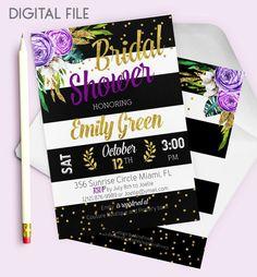 Bridal Shower Invitation Purple Fall Bridal Brunch Printable