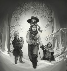 The Musketeers - Athos fan art for the prompt: 'Athos alone in the wilderness with children.' by JakartaInn