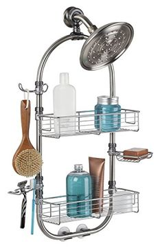 Bathroom Organization: mDesign Bathroom Shower Caddy for Shampoo, Conditioner, Soap, Razor - Large, Stainless Steel, Brushed >>> Find out more about the great product at the image link.