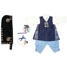 Dark blue floral patch and Sky blue - Boy Dol Hanbok Set - 5 Pieces