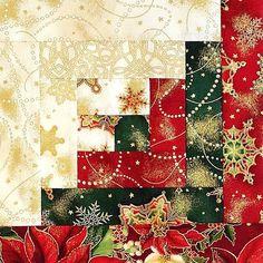Kaufman Log Cabin Pre-cut Christmas Quilt Kit Holiday Flourish 2015 ...