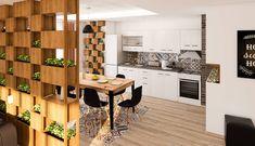 Stilul modern se remarca prin linii si suprafete drepte, fine si clare. Acest stil surprinde prin jocuri de lumina arhitecturala, pete de culoare, forme geometrice si corpuri modulare. Designul stilului modern este des confundat cu unul anost, ce nu transmite, insa, spre surprinderea multora, stilul modern este cel care reuseste sa creeze senzatii de actual, proaspat si sofisticat. Divider, Room, Furniture, Design, Home Decor, Bedroom, Decoration Home, Room Decor, Rum