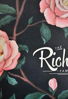 ROSEBUSH pattern Family Tree - CUSTOMIZABLE - 13 X 25 Printed on Canvas
