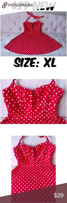 """Halter Pin Up Clothing Dress Vintage 1950s Girl XL Halter Pin Up Clothing Dress Vintage 1950s Girl ▶NEW WITHOUT TAGS ▶MATERIAL: 90% COTTON AND 10% SPANDEX ▶BUST: 40"""" ▶WAIST: 32"""" ▶LENGTH: 39"""" ▶#C16 Sara USA Dresses"""