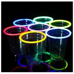 Glow sticks around cups for a party at night!