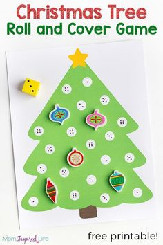 Christmas math activity for preschool. A fun Christmas tree game for young children! Christmas Tree Game, Fun Christmas Games, Christmas Activities For Kids, Christmas Themes, Kids Christmas, Christmas Cover, Preschool Math, In Kindergarten, Math Activities