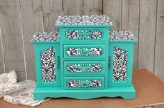 Shabby Chic Jewelry Box Armoire Tiffany Blue by TheVintageArtistry