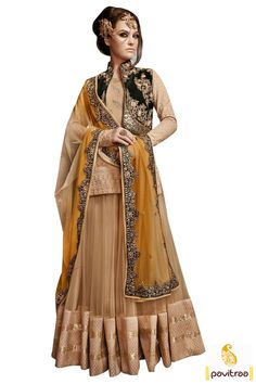 Dashing beige gold net anarkali bridal salwar suit will make yourself look vivacious with nice patch work with jari embroidery, sequences and nice umbrella style.  #pavitraa, #salwarsuits, #anarkalisalwarsuits, #designerdresses, #partyweardresses, #salwarkameez, #lehengasuits, #bollywooddresses, #onlinesuit, #promdress