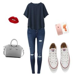"""""""Untitled #1"""" by michellegonm on Polyvore featuring Miss Selfridge, Uniqlo, Converse, Givenchy and Lime Crime"""