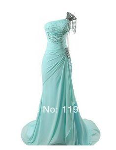 Freeshipping Elegant Beaded One shoulder Handmade Blue Prom dresses 2014 Mermaid Floor Length Evening Gowns 2014 New Arrival $119.00
