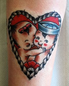 tattoo old school / traditional ink - babies (by Tom Chippendale)