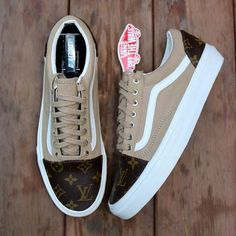 "Vans Old Skool ""Khaki & Designer"" Source by Shoes Custom Vans Shoes, Custom Sneakers, Vans Shoes Fashion, Cute Vans, Aesthetic Shoes, Vetement Fashion, Hype Shoes, Fresh Shoes, Vans Old Skool"