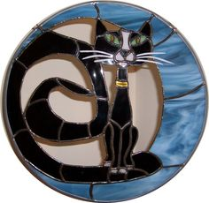 Black Cat Sitting In Crescent Moon Stained by StayCsStainedGlass